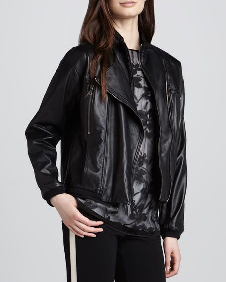 Leather Convertible-Collar Motorcycle Jacket