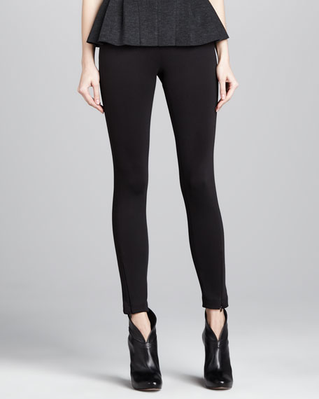 Zipper-Cuff Techno Knit Leggings