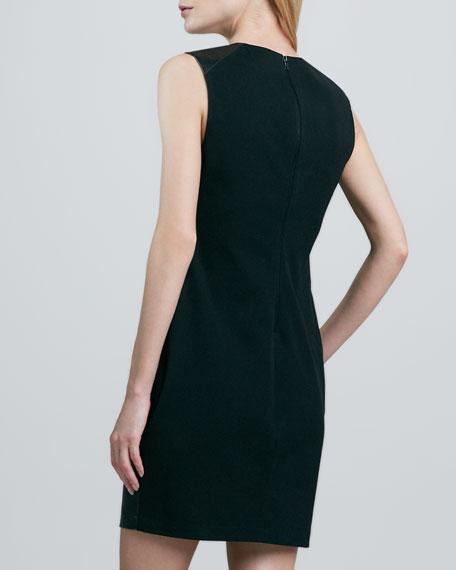 Leather-Front Sleeveless Dress