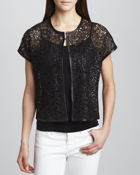 Rosette Short-Sleeve Cutout Leather Jacket