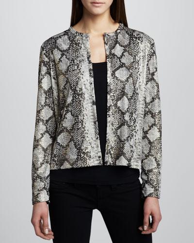 Grayse Snake-Print Jacket with Mezzo Grid