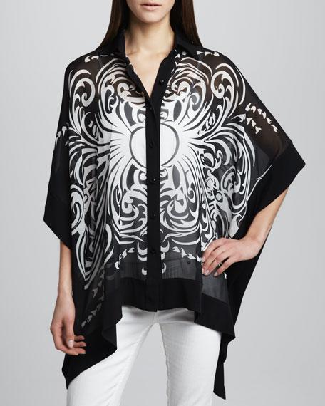 Swirl-Print Silk Cape