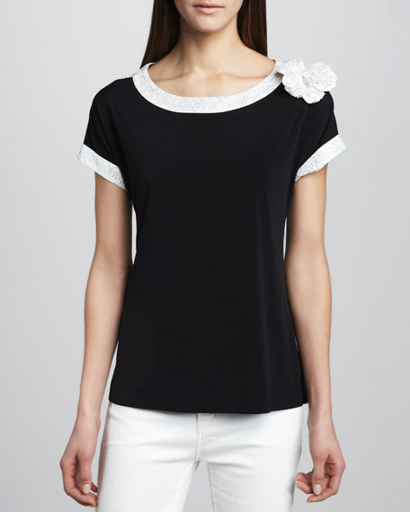 White-Trim Top with Flower