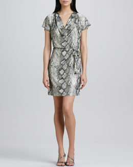 Grayse Snake-Print Draped Tie-Waist Dress