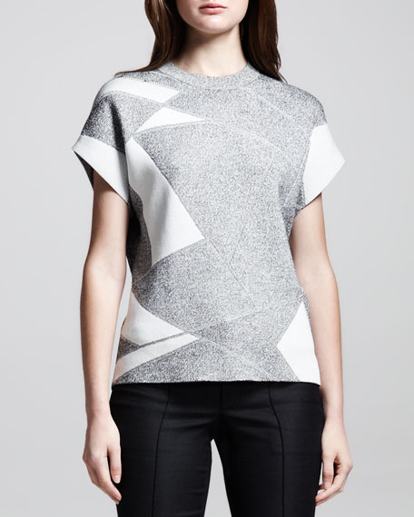Short-Sleeve Patchwork Pullover
