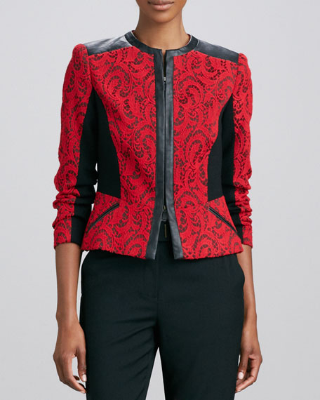 Textured Jacquard Leather-Trim Jacket