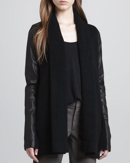 Draped Leather-Sleeve Jacket