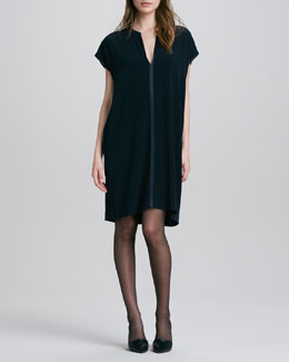 Vince Loose Split-Neck Shift Dress