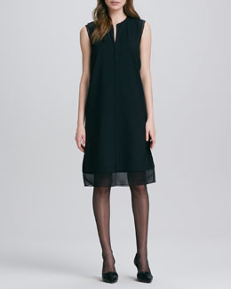 Vince Split-Neck Sheer-Hem Dress