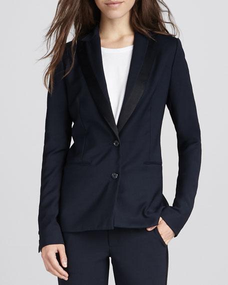 Satin-Trim Tuxedo Blazer