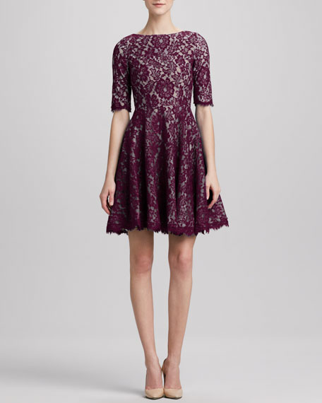 Lace Jewel-Neck Fit-and-Flare Dress