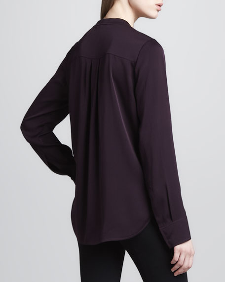 Zip-Placket Silk Blouse