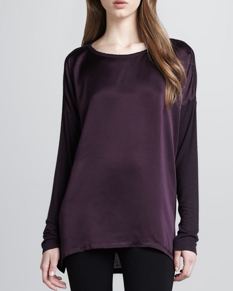 Loose Mix-Fabric Top, Mulberry