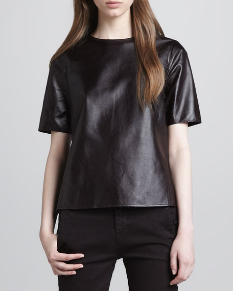 Side-Slit Leather Tee, Mulberry