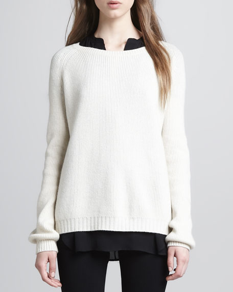 Elbow-Patch Knit Sweater