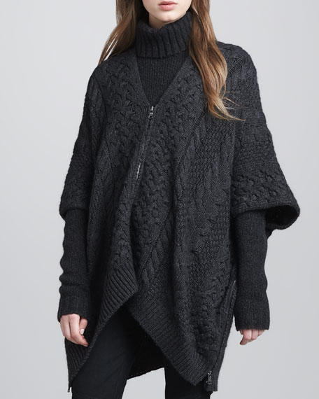 Cable-Knit Zip Poncho