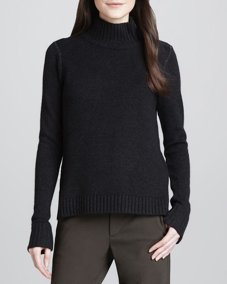 Ribbed-Trim Knit Sweater, Carbon/Thunder