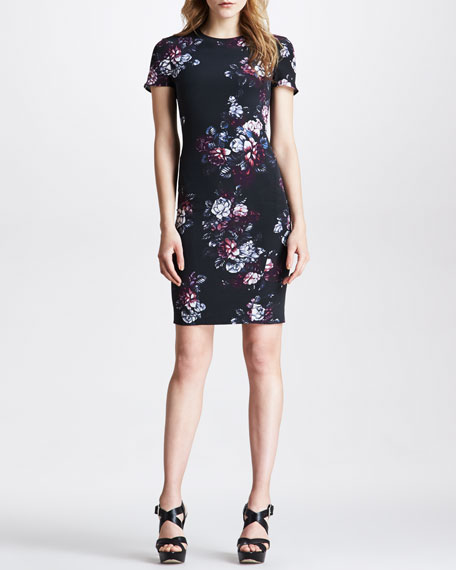Sliding Seam Floral-Print Dress