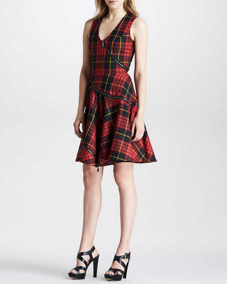 Bias-Zip Fit-and-Flare Plaid Dress