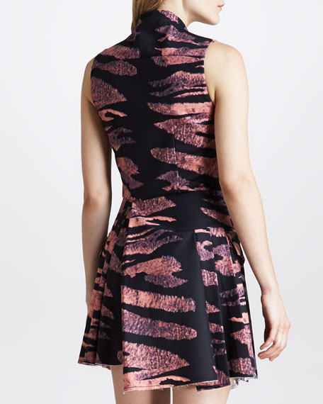 Tiger-Print Asymmetric Zip-Front Dress