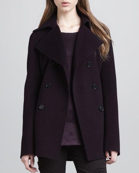Felt Pea Coat, Mulberry