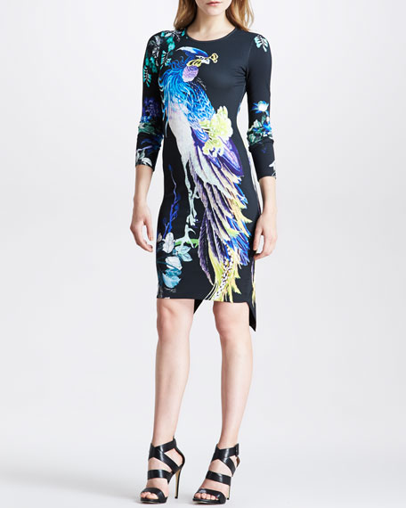 Paradise-Print Sheath Dress with Back Flounce