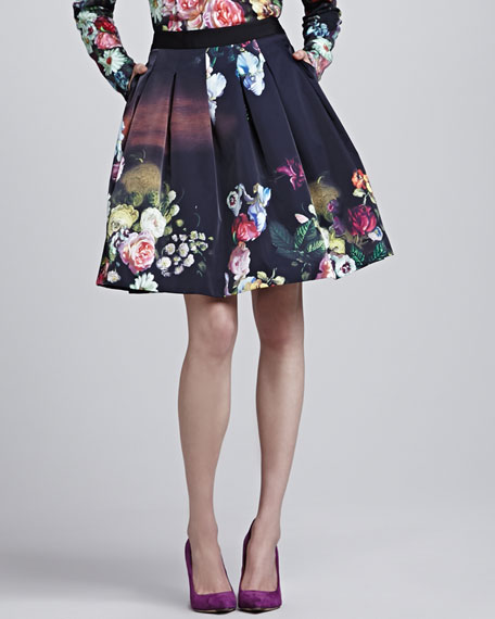 Flowtii Oil Painting Pleated Skirt