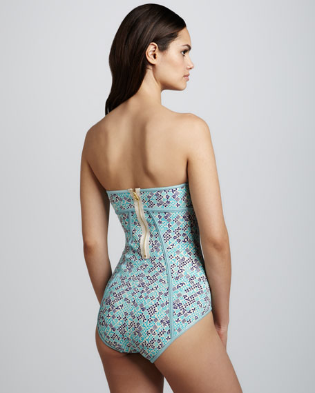 Jamie Printed Bandeau Maillot, Powder Blue