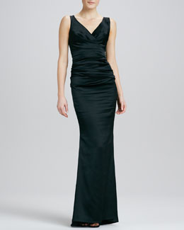 Talbot Runhof Sleeveless Ruched Mermaid Gown