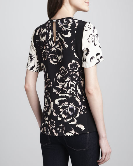 Two-Tone Printed Silk Top