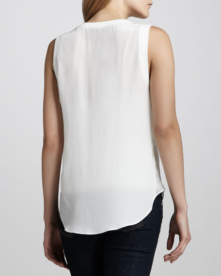 Tier-Front Silk Top, Ivory