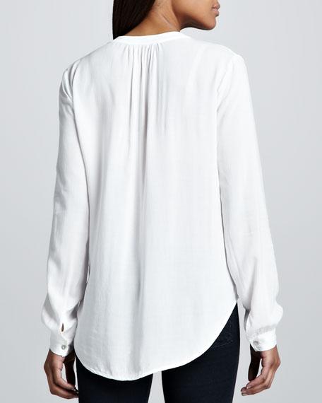 Rosie Split-Neck Blouse, White