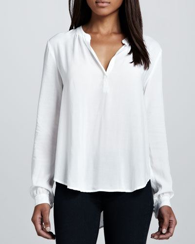 Velvet by Graham & Spencer Rosie Split-Neck Blouse, White