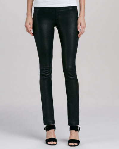 Cusp by Neiman Marcus Stretch-Leather Ankle Leggings