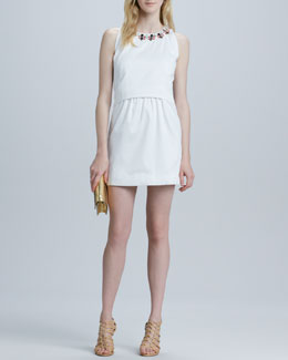 Milly Astrid Embellished-Neckline Dress