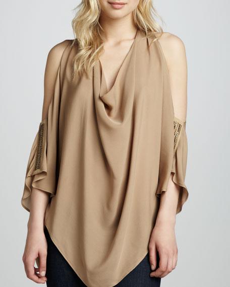 Stud-Sleeve Cold-Shoulder Silk Blouse