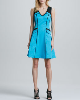 Nanette Lepore Andes Piped A-Line Scuba Dress