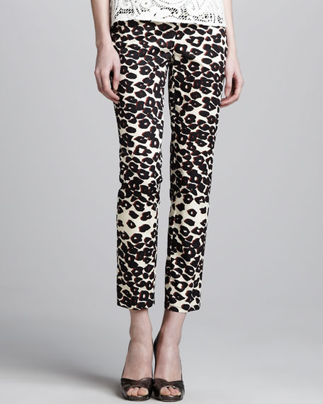 Wildlife Cropped Animal-Print Pants