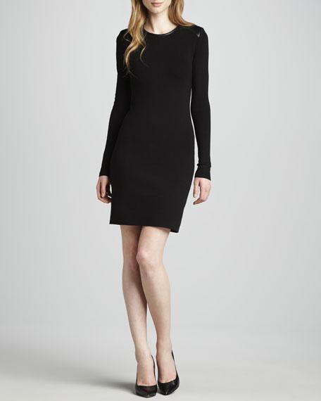 Sydney Leather-Trim Long-Sleeve Dress
