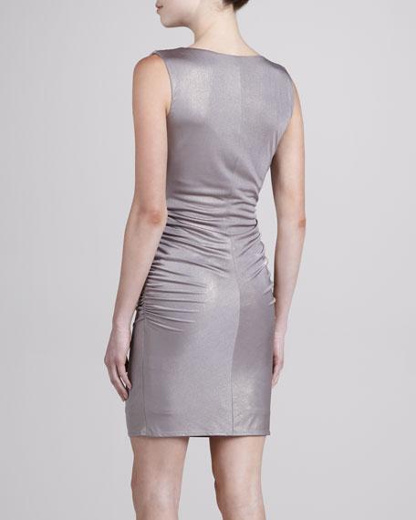 Cowl-Neck Glam Foil Dress