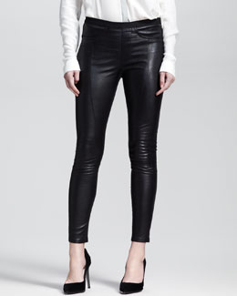 Helmut Lang Cropped Zip-Leg Leather Leggings
