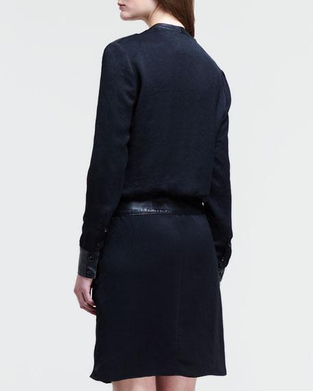 Leather-Pocket Long-Sleeve Shirtdress