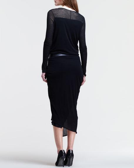 Long-Sleeve Uneven Drop-Waist Dress