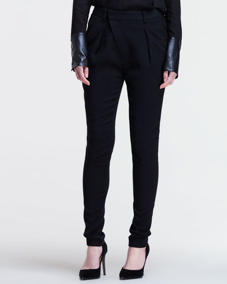 Angled-Front Skinny Pants