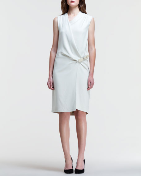 Asymmetric Side-Belt Drape Dress