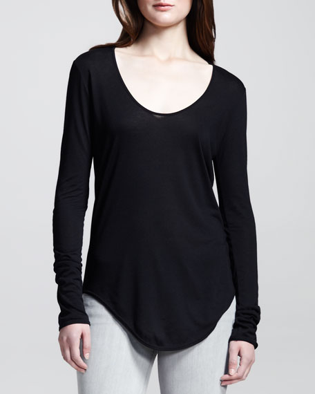 Long-Sleeve Double-Shirttail Tee, Black