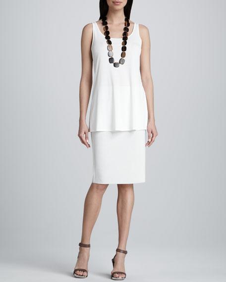 Silk-Cotton Straight Skirt, Petite