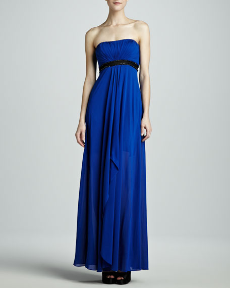 Strapless Beaded-Waist Jersey Gown