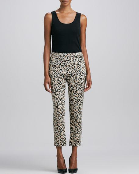 Leopard-Print Ankle Pants, Women's