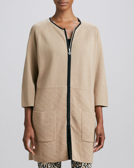 Knit Quilted-Panel Car Coat, Women's